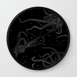 Octopus Black and White Wall Clock