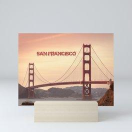 Golden Gate Bridge San Francisco With City Name Mini Art Print