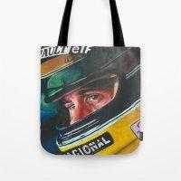 senna Tote Bags featuring Ayrton Senna by Sprite Ideas