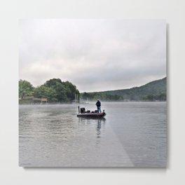 Misty Morning Fishing on the Lake Metal Print