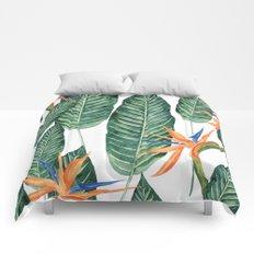Banana And Flowers #society6 Comforters