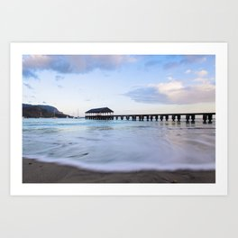 Hanalei Bay Pier at Sunrise Art Print
