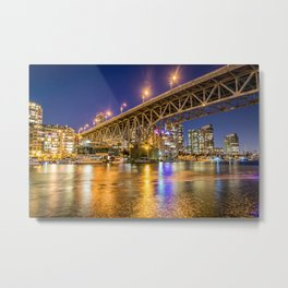 Downtown Vancouver at Night with Granville Bridge Metal Print