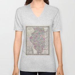 Vintage Map of Illinois (1855) Unisex V-Neck