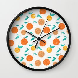 Oranges Pattern1 Wall Clock