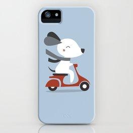 Kawaii Cute Dog Riding A Scooter iPhone Case