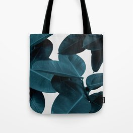 Indigo Blue Plant Leaves Tote Bag
