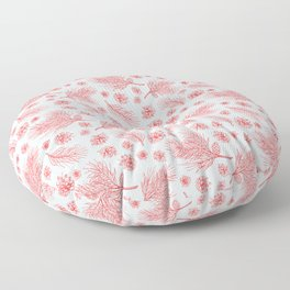 Pine Cones and Pine Branches Pattern (Light Blue and Red) Floor Pillow
