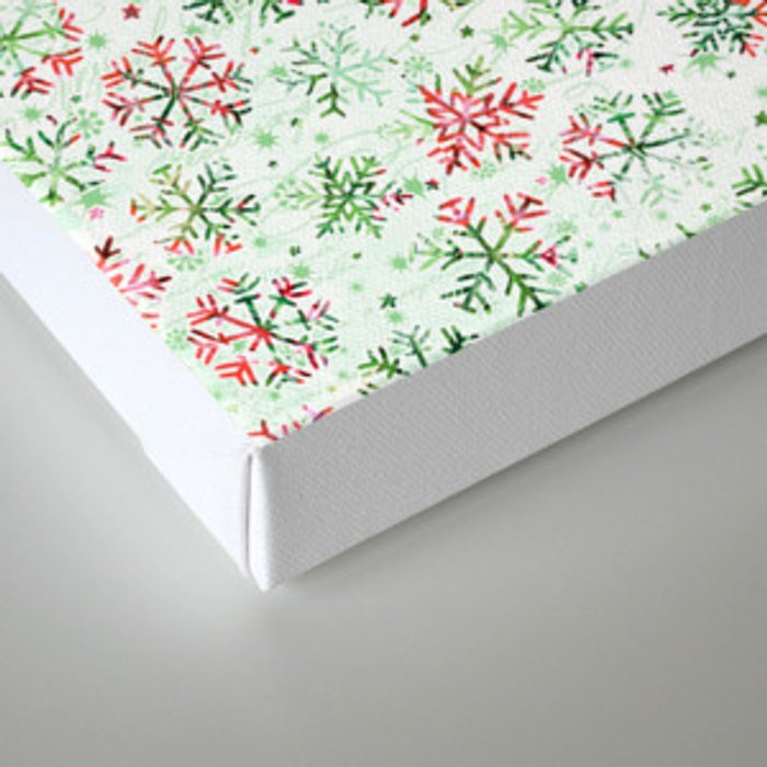 Red Green Snowflakes Canvas Print