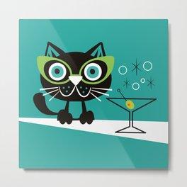 1950s Swank Mid Century Modern Martini Cocktail Kitty Cat Metal Print