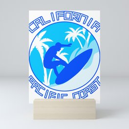 California Pacific Coast Surfing Surfer Waves Gift Mini Art Print