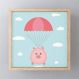 Baby Pig in a Parachute Framed Mini Art Print