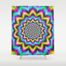 Yellow Blue and Violet Star Shower Curtain