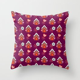 Lovely magical gingerbread houses, colorful sweet candy lollipops. Retro vintage Christmas pattern Throw Pillow