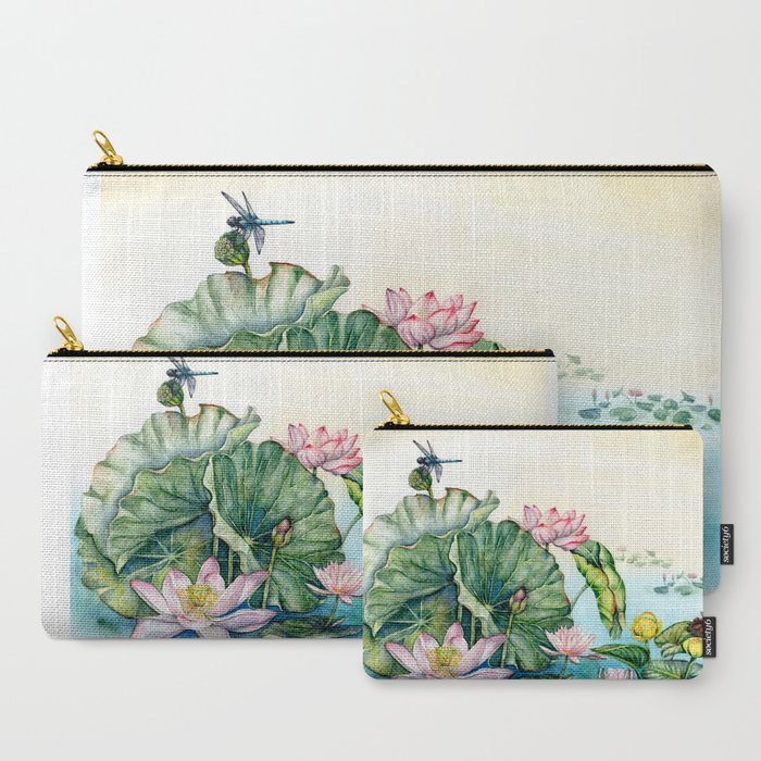 Japanese_Water_Lilies_and_Lotus_Flowers_CarryAll_Pouch_by_Goosi__Set_of_3