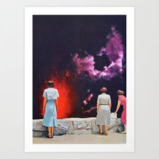 VOLCANO AT NIGHT Art Print