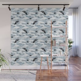 April Shower (Blue Grisaille) Wall Mural
