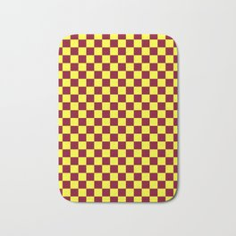 Electric Yellow and Burgundy Red Checkerboard Bath Mat