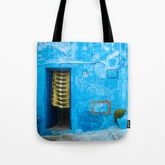 Moroccan House with Blue Wall and Green Curtain. Tote Bag