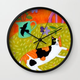 Calico Cat on table reproduction of original painting by Tascha Parkinson Wall Clock