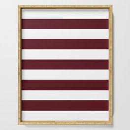 Chocolate cosmos - solid color - white stripes pattern Serving Tray
