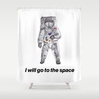 astronaut Shower Curtains featuring astronaut by merry