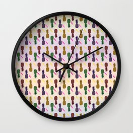 Fun with Pineapples - coloured Wall Clock