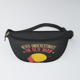 Mens Never Underestimate An Old Man With a Fishing Rod design Fanny Pack