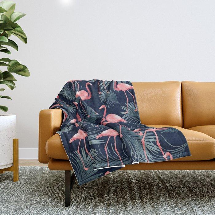 Summer Flamingo Palm Night Vibes #1 #tropical #decor #art #society6 Throw Blanket