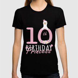 10th Birthday Princess Llama Girl Llamazing 10 Years Old design T-shirt