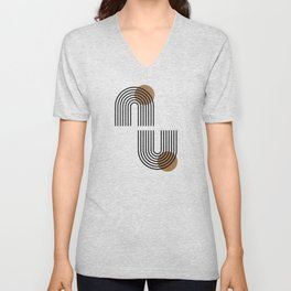 Rainbow arches & sun minimal black line art Unisex V-Neck