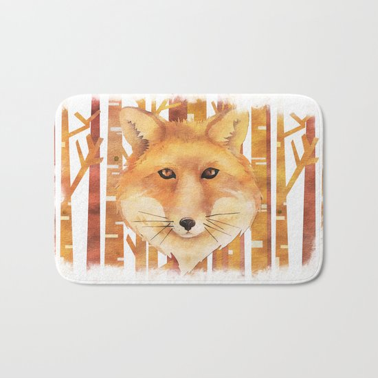Fox in the forest- Animal abstract watercolor illustration on #Society6 Bath Mat