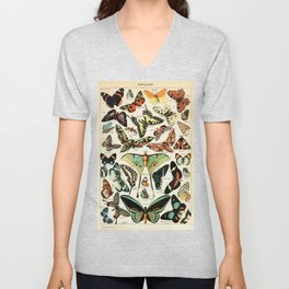 Papillon I Vintage French Butterfly Charts by Adolphe Millot Unisex V-Neck
