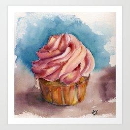 Watercolor Cupcake Art Print