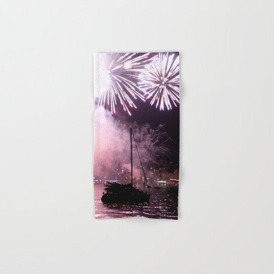 Fireworks on the harbour  Hand & Bath Towel