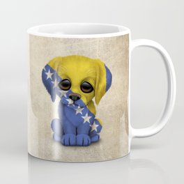 Cute Puppy Dog with flag of Bosnia - Herzegovina Coffee Mug