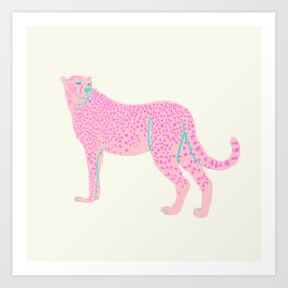 PINK STAR CHEETAH Art Print