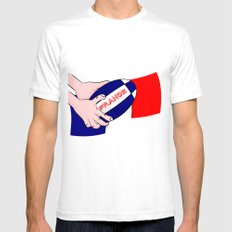 France Rugby Ball Flag White SMALL Mens Fitted Tee