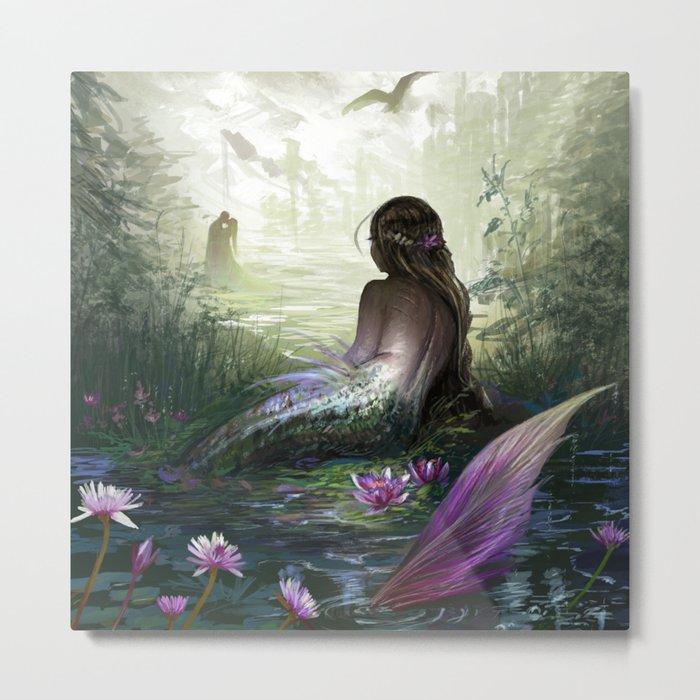 Little mermaid - Lonley siren watching kissing couple Metal Print