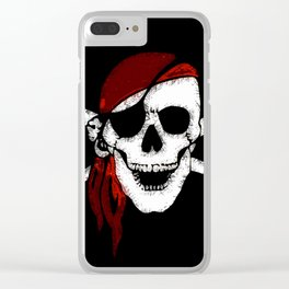 Creepy Pirate Skull and Crossbones Clear iPhone Case