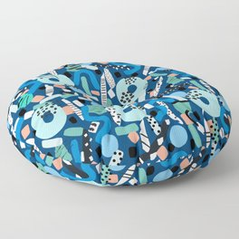 CIRCLES IN MOTION - GREEN/ BLUE brush stroke Floor Pillow