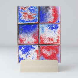 The Window red white blue abstract Mini Art Print