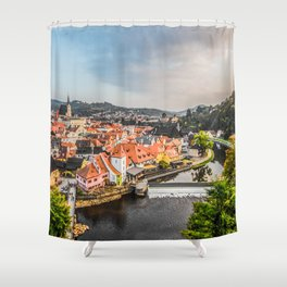 Cesky Krumlov Panoramic view Shower Curtain