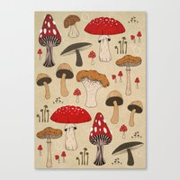 mushrooms Canvas Prints featuring Mushrooms by Lynette Sherrard Illustration and Design
