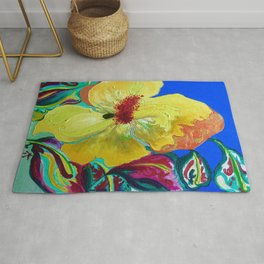 Birthday Acrylic Yellow Orange Hibiscus Flower Painting with Red and Green Leaves Rug