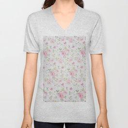Elegant blush pink white vintage rose floral Unisex V-Neck
