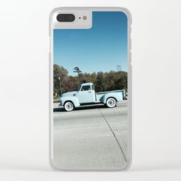 Powder blue pickup truck Clear iPhone Case