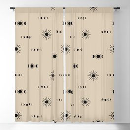 Little sunny day and midnight moon phase boho universe pattern beige sand neutral Blackout Curtain