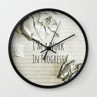 decal Wall Clocks featuring I'm A Work In Progress by Charlene McCoy