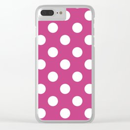 Smitten - violet - White Polka Dots - Pois Pattern Clear iPhone Case